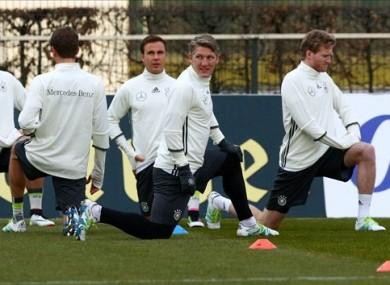 The midfielder in training yesterday.