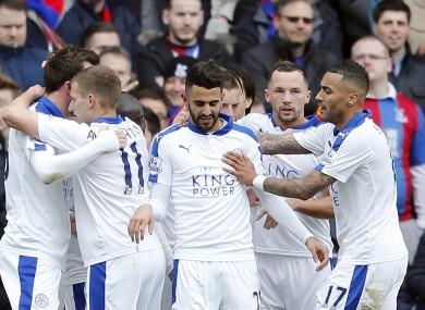 Leicester goalscorer Mahrez and his team-mates.