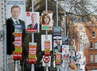 Election posters outside Government Buildings in Dublin last month.