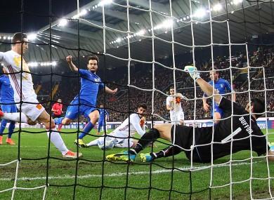 Spain''s Aritz Aduriz, centre, scores past Italy goalkeeper Gianluigi Buffon.
