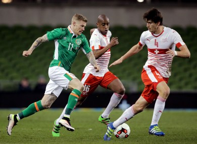 McClean in action against Switzerland.