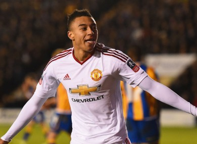 Jesse Lingard in Manchester United's white away strip.