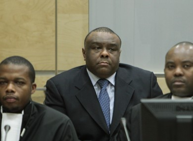 Jean-Pierre Bemba is seen with his lawyers in the International Criminal Court in The Hague.