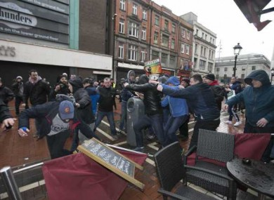Demonstrators clashing in Dublin last month.
