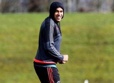 Simon Zebo training with Munster this week.