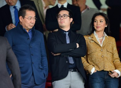 Leicester City Chairman Vichai Srivaddhanaprabha (left) and Vice-Chairman Aiyawatt Srivaddhanaprabha pictured during a Barclays Premier League match last year.