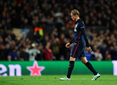 Torres was sent off for a second booking in the first half of tonight's Barcelona-Atletico clash.