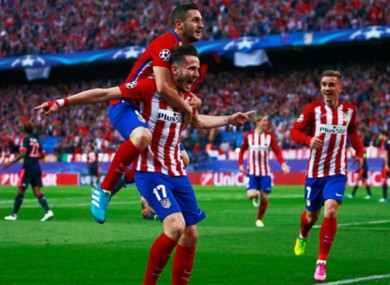 Saul celebrates his goal.