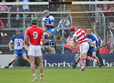 Stephen O'Keeffe blocks Anthony Nash's penalty in the 2014 Munster quarter-final replay.