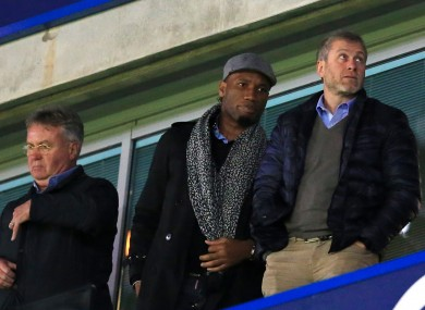 Drogba with interim  Chelsea boss Guus Hiddink and owner Roman Abramovich.