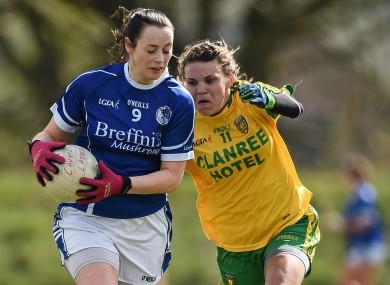 Rosie Crowe, Cavan, in action against Niamh Hegarty, Donegal.