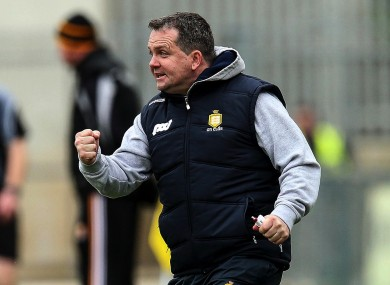Clare manager Davy Fitzgerald celebrates a score during their Allianz Hurling League semi-final defeat of Kilkenny.