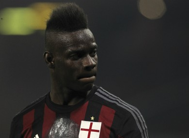 Milan striker Mario Balotelli.