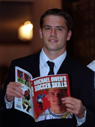 Liverpool and England football star Michael Owen arrives at a London hotel, for the launch of his soccer skills book and video in 1999.