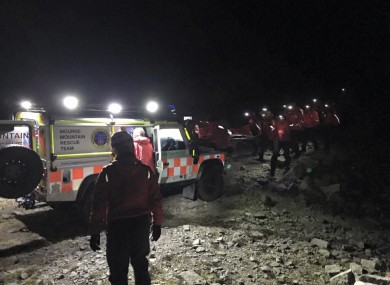 The rescue team at the scene last night