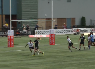Niall Williams with the flick for New Zealand.