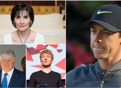 Clockwise from top-left: Enya, Rory McIlroy, Patrick Collison and Denis O'Brien.