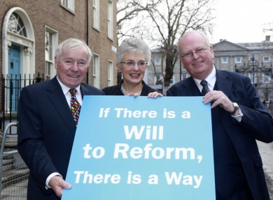 Then senators Feargal Quinn and Katherine Zappone with Michael McDowell SC at the launch of a blueprint for action to reform Seanad Eireann in January 2014.