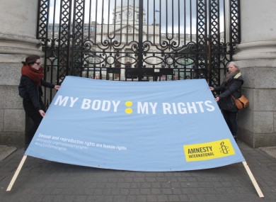 Amnesty campaigners outside the Dáil in March.