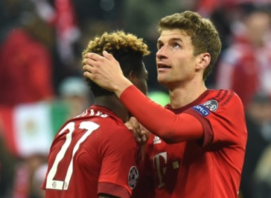 Forward Thomas Muller missed a penalty for Bayern.
