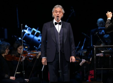 Bocelli will sing the likes of Nessun Dormo and Time To Say Goodbye.