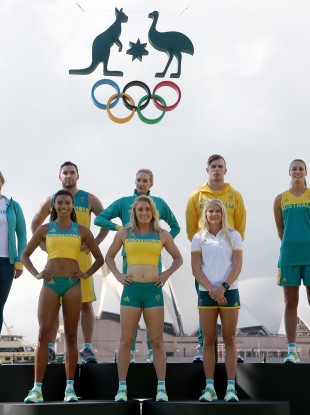 Australian athletes, back row from left to right, Holly Lincoln-Smith, Adam Gibson, Madison Wilson, Kyle Chalmers and Stephanie Talbot, front row left to right, Morgan Mitchell, Sally Pearson and Brooke Stratton model.
