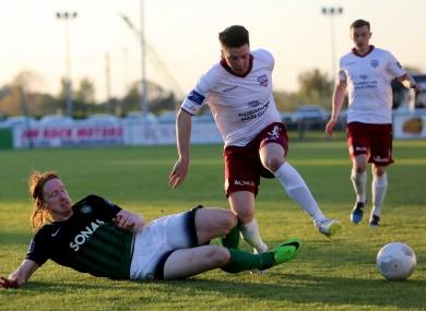 Galway's Kevin Devaney takes on Bray defender Hugh Douglas.