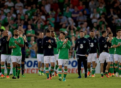 Ireland players at the end of the game tonight.