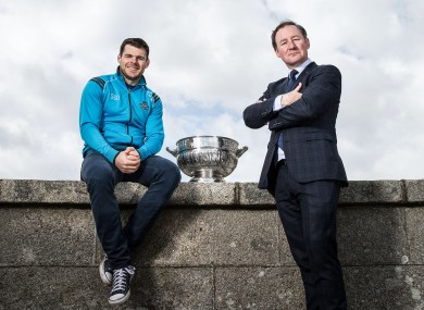 Dublin manager Jim Gavin with attacker Kevin McManamon at yesterday's Leinster championship launch.