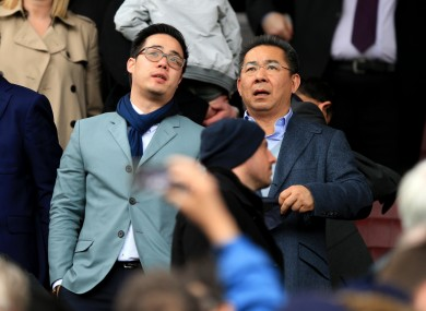 Leicester City chairman Vichai Srivaddhanaprabha (right) and vice chairman Aiyawatt Srivaddhanaprabha.