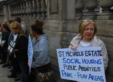 Protesters outside Dublin City Council yesterday evening