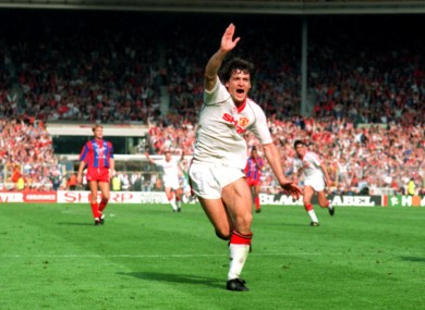Mark Hughes scored twice against Crystal Palace in the first match.