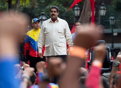 Venezuela''s President Nicolas Maduro arrives at Bolivar Square to celebrate the 206th anniversary of the call for independence from Spain.