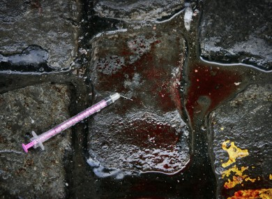 File photo of a needle and blood in the streets of Dublin.
