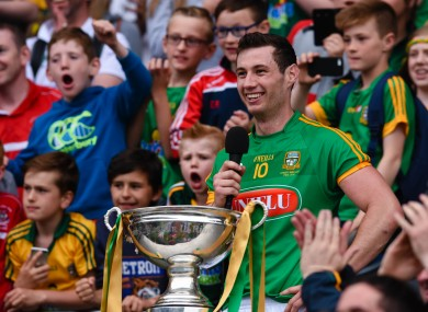 Meath captain James Toher makes his victory speech after the game.