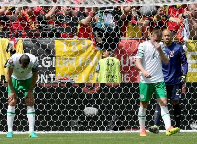 John O'Shea dejected after another Belgium goal.