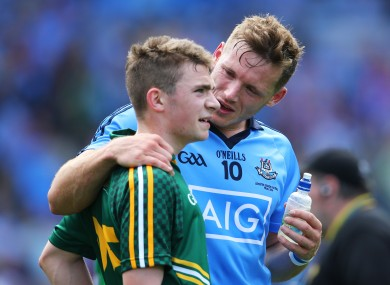 Dublin's Paul Flynn and Meath's Joseph Wallace after the 2014 Leinster final.