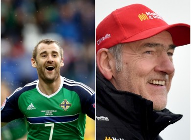 Northern Ireland's Neil McGinn and Tyrone manager Mickey Harte.