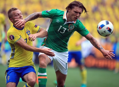 Sweden's Sebastian Larsson (left) and Republic of Ireland's Jeff Hendrick battle for the ball during their Euro 2016 match.