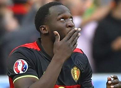 Romelu Lukaku celebrates his brace for Belgium.