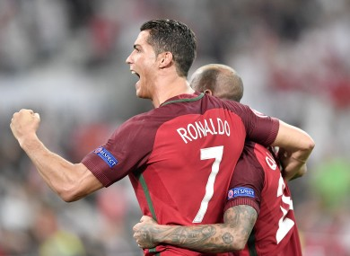 Cristiano Ronaldo celebrates after advancing to the semi-final.