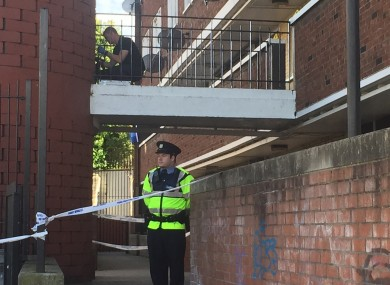 Gardai at the scene of a fatal stabbing in Seagull House on Rutland Ave in Crumlin.