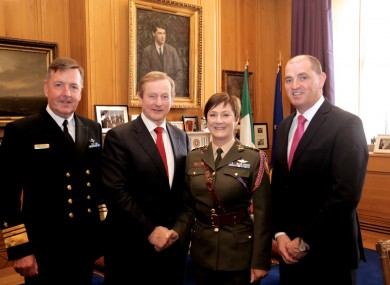 Defence Forces chief of staff Vice-Admiral Mark Mellett, Taoiseach Enda Kenny, Colonel O'Brien and Minister of State Paul Kehoe