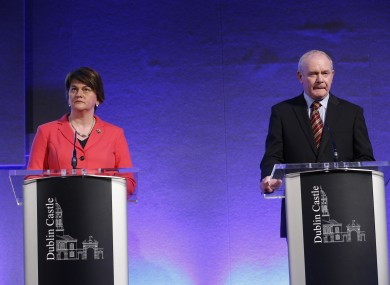 First minister and deputy first minister Arlene Foster and Martin McGuinness at the North South Ministerial Council earlier this month