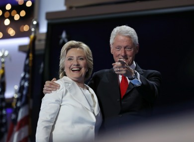 Democratic presidential nominee Hillary Clinton with her husband Bill.