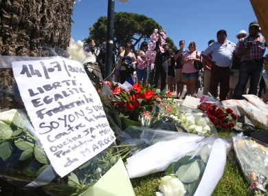 Flowers left in tribute to those killed during the Nice attacks