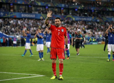 Italy goalkeeper Gianluigi Buffon acknowledges the fans after their loss in the penalty shoot-out .