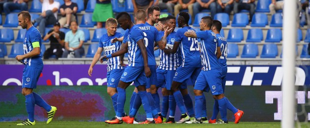 Genk players celebrate after their first-half goal.