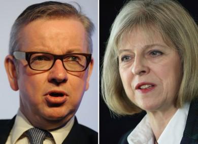 Tory leadership contenders Michael Gove and Theresa May