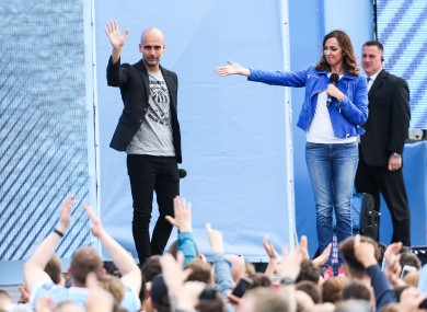 Guardiola is unveiled at the Etihad Stadium  today.
